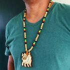 Lion Of Judah Wood Necklace Large Pendant Rasta Reggae Rastafari Jamaica Bob 30