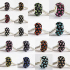 Crystal Rhinestone 925 Sterling Silver Big Hole Charm Bead Fit European Bracelet