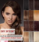 "19"" 3FT DIY Weft Clip in Human Hair Extensions"