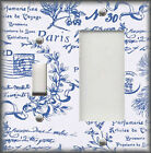 Metal Light Switch Plate Cover - Paris French Toile Blue And White Home Decor