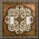 Light Switch Plate Cover - Faux Finish Fleur De Lis - Image - Copper