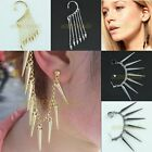 Hot Vintage Rock Punk Long Tassel Chains Rivet Spike Stud Ear Clip Cuff Earrings