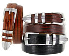 "Brandon Men's Italian Leather Designer Dress Belt 1-1/8"" Wide, Black Brown"