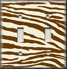 Light Switch Plate Cover - Chocolate Brown And Cream - Zebra Animal Print