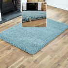 SMALL - EXTRA LARGE DENSE THICK 5cm PILE MODERN PLAIN DUCK EGG BLUE SHAGGY RUGS