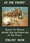 WA96 Vintage WW1 Every Fit Briton At The Front British War WWI Poster A4