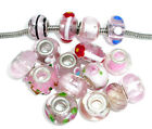 Special Price 20pcs FREE SHIP Pink Lampwork Glass Beads Fit Charm Bracelet