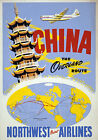 TW82 Vintage 1950 China Chinese Travel Orient Airlines Poster Re-Print A1/A2/A3