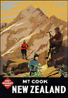 TR11 Vintage New Zealand Mount Cook Travel Poster A1 A2 A3