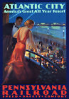 TR98 Vintage Atlantic City Pennsylvania Railway Poster A3 A2 A1