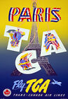 TX26 Vintage 1950's PARIS France Travel Tourism Poster Re-Print A4