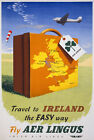 TX33 Vintage 1950's Travel To Ireland Irish Travel Poster Re-Print A4