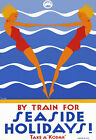 T94 Vintage Australian By Train For Seaside Holidays Travel Poster A1 A2 A3