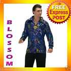 C419 Mens 60s 70s Mens Blue Dynomite Disco Shirt Groove Adult Halloween Costume