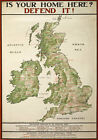 WA35 Vintage WWI Britain Map Your Home Defend It Recruitment Poster WW1 A4