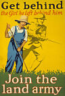 WA45 Vintage 1918 WWI  Join The Land Army War Poster Re-Print WW1 A4