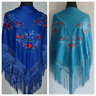 """Blue flamenco multicoloured embroided Spanish shawl 66"""" x 39"""" Direct from Spain"""