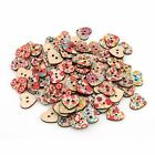 100pcs Bulk Heart Star Shape Painting Wooden Sewing Buttons Scrapbooking 2 Hole