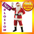 C510 Flannel Santa Claus Suit Clause Christmas Xmas Fancy Dress Adult Costume