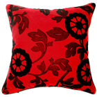UF54a Black Flower Bright Red Velvet Style Cushion Cover/Pillow Case Custom Size