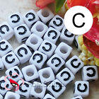 """C"" White Square Alphabet Letter Acrylic Plastic 6mm Beads 37C9308-c"