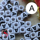 """A"" White Square Alphabet Letter Acrylic Plastic 7mm Beads 37C9129-a"