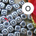 """""""O"""" Silver Square Alphabet Letter Acrylic Plastic 6mm Beads 43C9308-o"""