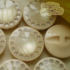 Beige Nobby 30mm Round Glitter Acrylic Resin Buttons Sewing Craft #084