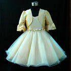 B875 Beige Gold Wedding Flower Girls Dress + Cardigan Set SIZE 2-3-4-5-6-7-8-10Y