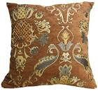 Wd24Aa Gold on Brown Damask Chenille Flower Throw Cushion Cover/Pillow Case*Size