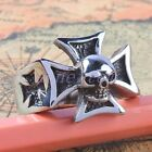 Cross Skull Head Skeleton Stainless Steel Finger Ring Size 9-12 Men's Jewelry