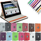LEATHER 360 DEGREE ROTATING CASE COVER FOR IPAD 2 NEW IPAD 3 & 4 WITH SLEEP WAKE