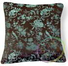 Eb052 Turquoise Bird Aster Rayon Brocade Cushion Cover/Pillow Case*Custom Size