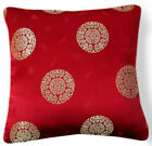BL096a Gold Medallions Red Rayon Brocade Cushion Cover/Pillow Case*Custom Size