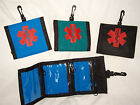 Trifold Medicine Nylon Wallets w/ red medical symbol, black, blue, teal or white