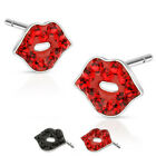 Surgical Steel Black or Red Crystal Sexy Lip Ferido Stud Earrings