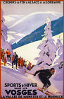 TX174 Vintage VOSGES Winter Sport French France Skiing Travel Poster Re-Print A4