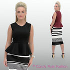 NEW WOMENS LADIES PEPLUM SLEEVELESS BODYCON SKATER DRESS TOP SIZE 8-14