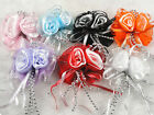 10/30PC Organza2 roses Acrylic Beads streamers Apppliques Bow U pick