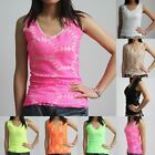 Womens Daisy Flower Floral Crochet Lace Sleeveless Summer Vest Tank Top T-shirt