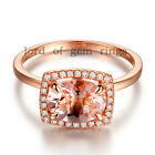Oval Cut 6x8mm Morganite Halo H/SI Diamonds Solid 14K Rose Gold Engagement Ring