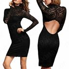 Sexy Womens Black Long Sleeve Lace Backless Slim Mini Dress Club Party Cocktail
