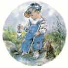 Boy Blue Overalls Hat Gray Kitten Select-A-Size Waterslide Ceramic Decals Ox image