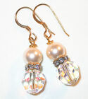 SWAROVSKI CRYSTAL & 12mm PEARL ELEMENTS Gold Earrings CLEAR AB & CREAM Bridal