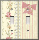 Light Switch Plate Cover - Shabby Decor - Pink And Yellow Roses And Stripes