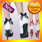 8136 Cute White Ruffle Ankle Socks with Red or Black Bows