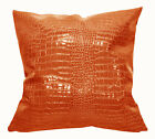 pd1011a Orange Faux Crocodile Glossy Leather Cushion Cover/Pillow Case*Custom Sz