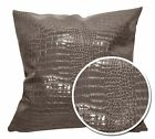 pd1018a Grey Brown Faux Crocodile Glossy Leather Cushion Cover/Pillow Case