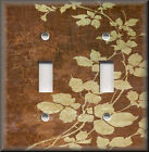 Light Switch Plate Cover - Floral Leaves - Brown - Modern Home Decor