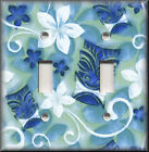 Light Switch Plate Cover - Tropical Tiki Floral - Blue - Home Decor